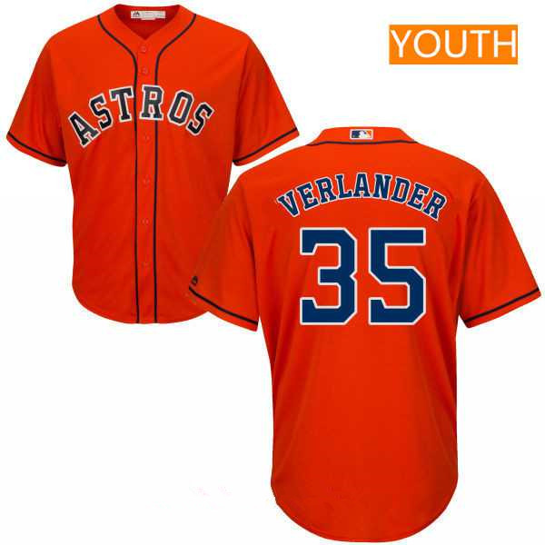 Youth Houston Astros #35 Justin Verlander Orange Stitched MLB Majestic Cool Base Jersey