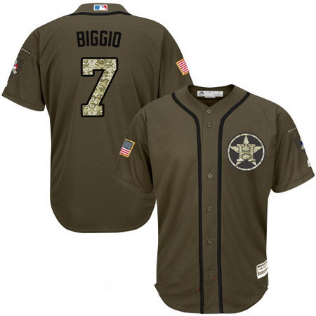 Youth Houston Astros #7 Craig Biggio Retired Green Salute To Service Stitched MLB Majestic Cool Base Jersey