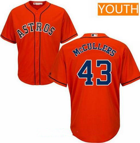 Youth Houston Astros #43 Lance McCullers Jr. Orange Alternate Stitched MLB Majestic Cool Base Jersey