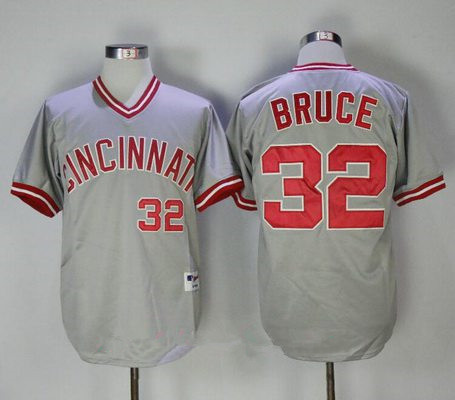 Men's Cincinnati Reds #32 Jay Bruce Gray Pullover 2013 Cooperstown Collection Stitched MLB Majestic Jersey
