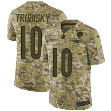 Nike Bears #10 Mitchell Trubisky Camo Men's Stitched NFL Limited 2018 Salute To Service Jersey