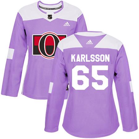 Adidas Senators #65 Erik Karlsson Purple Authentic Fights Cancer Women's Stitched NHL Jersey