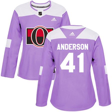 Adidas Senators #41 Craig Anderson Purple Authentic Fights Cancer Women's Stitched NHL Jersey