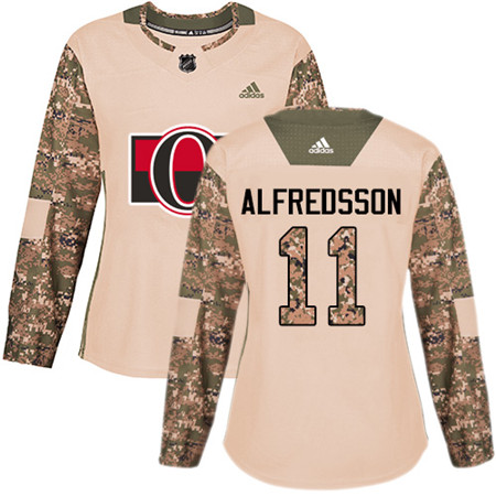 Adidas Senators #11 Daniel Alfredsson Camo Authentic 2017 Veterans Day Women's Stitched NHL Jersey