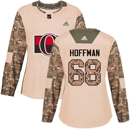 Adidas Senators #68 Mike Hoffman Camo Authentic 2017 Veterans Day Women's Stitched NHL Jersey