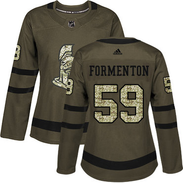 Adidas Women's Alex Formenton Authentic Green Jersey NHL #59 Ottawa Senators Salute to Service
