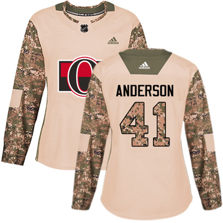 Adidas Senators #41 Craig Anderson Camo Authentic 2017 Veterans Day Women's Stitched NHL Jersey