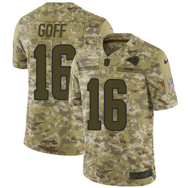Nike Rams #16 Jared Goff Camo Men's Stitched NFL Limited 2018 Salute To Service Jersey