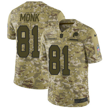 Nike Redskins #81 Art Monk Camo Men's Stitched NFL Limited 2018 Salute To Service Jersey