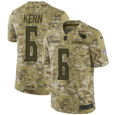 Nike Titans #6 Brett Kern Camo Men's Stitched NFL Limited 2018 Salute To Service Jersey