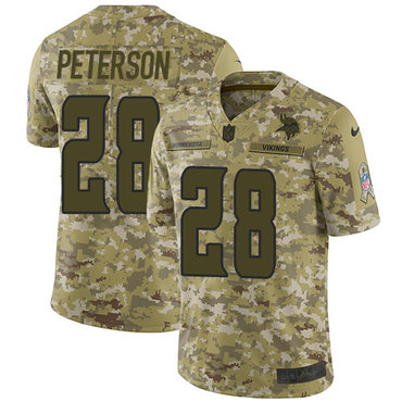Nike Vikings #28 Adrian Peterson Camo Men's Stitched NFL Limited 2018 Salute To Service Jersey