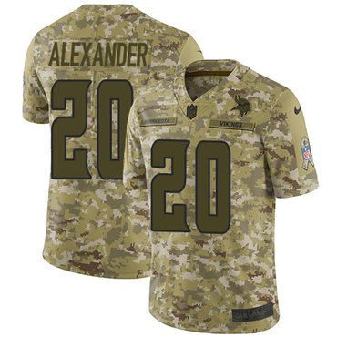 Nike Vikings #20 Mackensie Alexander Camo Men's Stitched NFL Limited 2018 Salute To Service Jersey