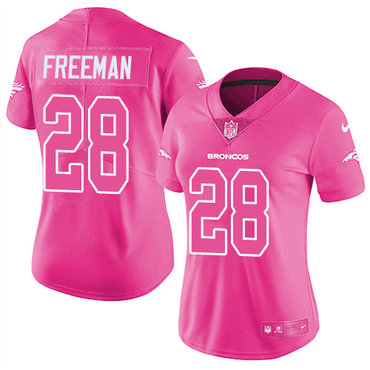 Nike Broncos #28 Royce Freeman Pink Women's Stitched NFL Limited Rush Fashion Jersey