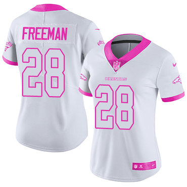 Nike Broncos #28 Royce Freeman White Pink Women's Stitched NFL Limited Rush Fashion Jersey