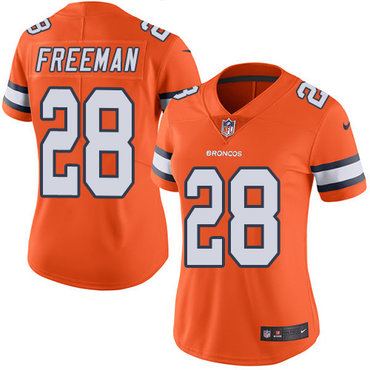 Nike Broncos #28 Royce Freeman Orange Women's Stitched NFL Limited Rush Jersey
