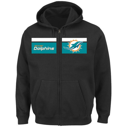 Miami Dolphins Majestic Touchback Full-Zip Hoodie - Black