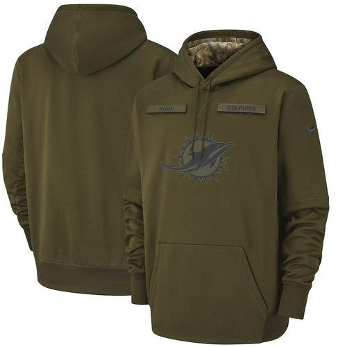 Miami Dolphins Nike Salute to Service Sideline Therma Performance Pullover Hoodie - Olive