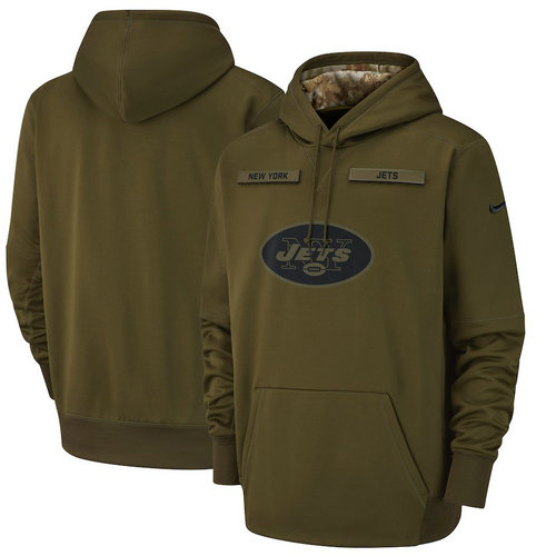 New York Jets Nike Salute to Service Sideline Therma Performance Pullover Hoodie - Olive