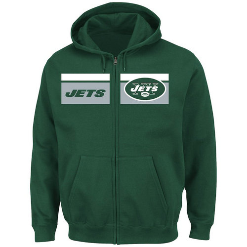 New York Jets Majestic Touchback Full-Zip Hoodie - Green
