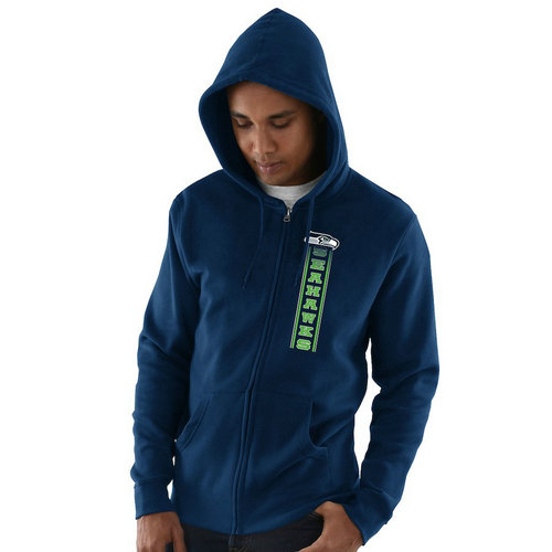 Seattle Seahawks Hook and Ladder Full-Zip Hoodie - College Navy