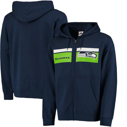 Seattle Seahawks Majestic Touchback Full-Zip Hoodie - Navy