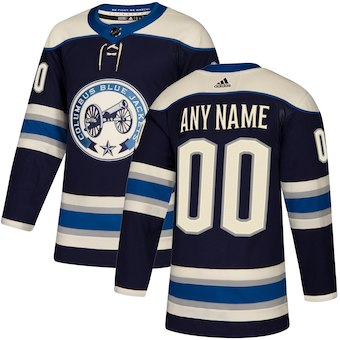 Men's Columbus Blue Jackets adidas Navy Authentic Alternate Custom Jersey