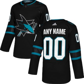 Men's San Jose Sharks adidas Black Alternate Authentic Custom Jersey