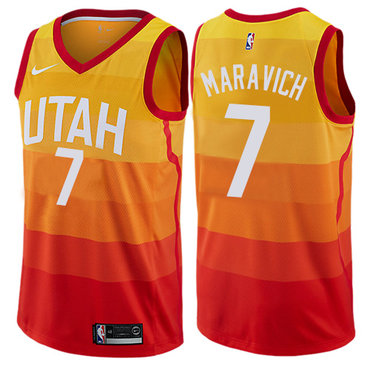 Men's NBA Utah Jazz #7 Pete Maravich Swingman Orange City Edition Nike Jersey