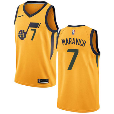 Men's NBA Utah Jazz #7 Pete Maravich Swingman Gold Association Edition Nike Jersey