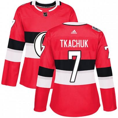 Women's Authentic Ottawa Senators #7 Brady Tkachuk Adidas 2017 100 Red Classic Jersey