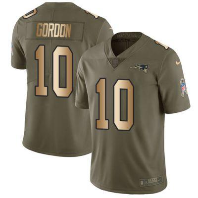 Men's NFL New England Patriots #10 Josh Gordon Olive Gold 2017 Salute to Service Limited Nike Jersey