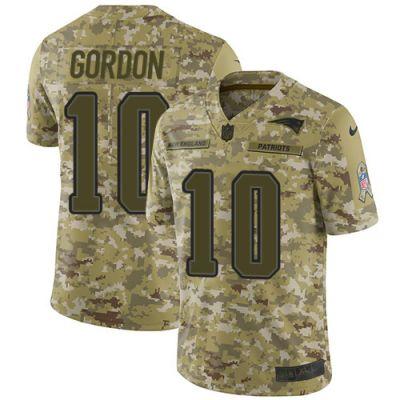 Men's NFL New England Patriots #10 Josh Gordon Camo 2018 Salute to Service Limited Nike Jersey