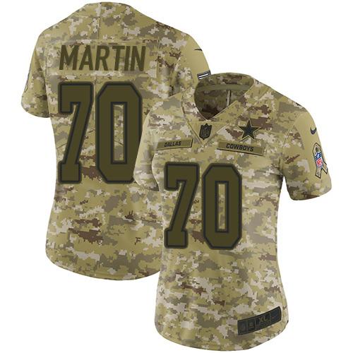 Nike Cowboys #70 Zack Martin Camo Women's Stitched NFL Limited 2018 Salute to Service Jersey