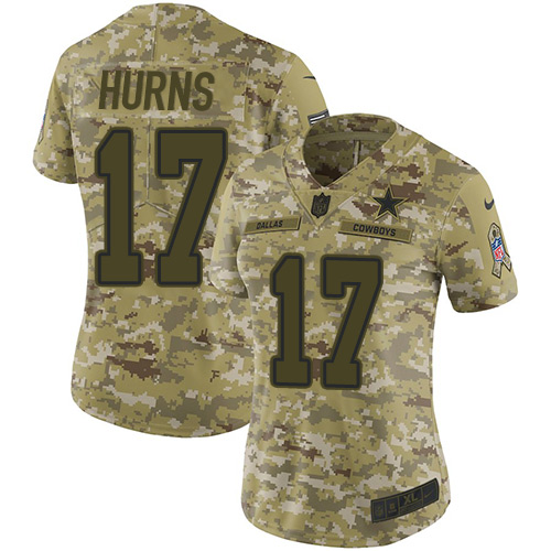 Nike Cowboys #17 Allen Hurns Camo Women's Stitched NFL Limited 2018 Salute to Service Jersey
