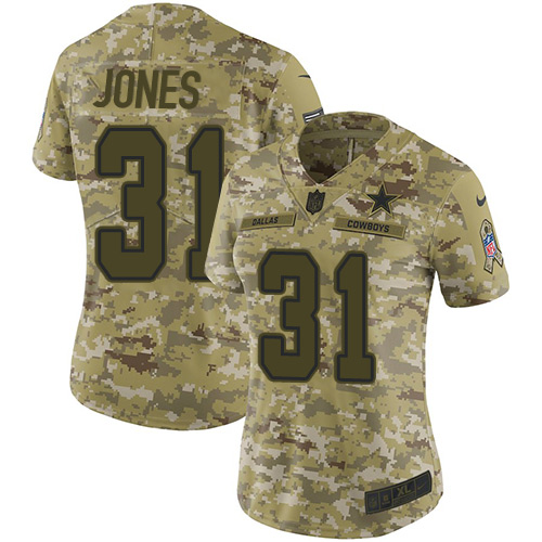 Nike Cowboys #31 Byron Jones Camo Women's Stitched NFL Limited 2018 Salute to Service Jersey