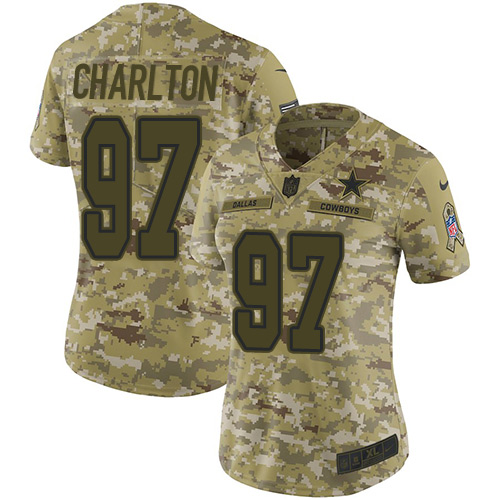 Nike Cowboys #97 Taco Charlton Camo Women's Stitched NFL Limited 2018 Salute to Service Jersey