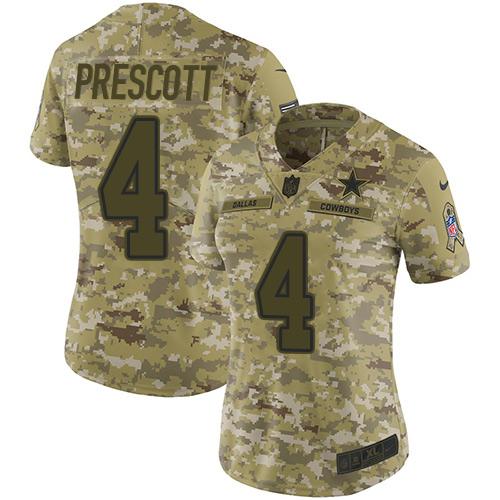 Nike Cowboys #4 Dak Prescott Camo Women's Stitched NFL Limited 2018 Salute to Service Jersey