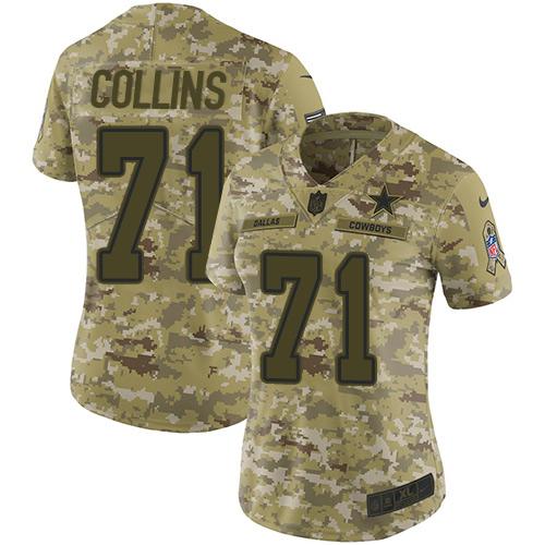 Nike Cowboys #71 La'el Collins Camo Women's Stitched NFL Limited 2018 Salute to Service Jersey