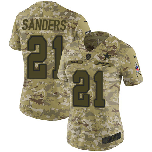 Nike Cowboys #21 Deion Sanders Camo Women's Stitched NFL Limited 2018 Salute to Service Jersey