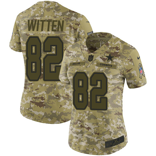 Nike Cowboys #82 Jason Witten Camo Women's Stitched NFL Limited 2018 Salute to Service Jersey