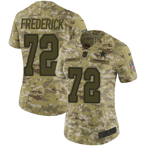Nike Cowboys #72 Travis Frederick Camo Women's Stitched NFL Limited 2018 Salute to Service Jersey