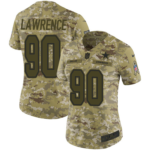 Nike Cowboys #90 Demarcus Lawrence Camo Women's Stitched NFL Limited 2018 Salute to Service Jersey