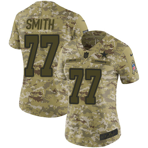 Nike Cowboys #77 Tyron Smith Camo Women's Stitched NFL Limited 2018 Salute to Service Jersey
