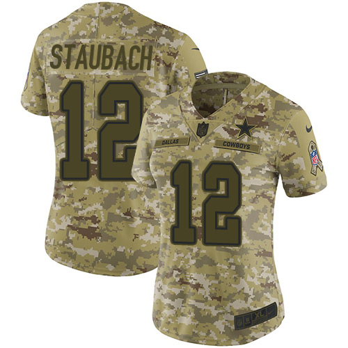 Nike Cowboys #12 Roger Staubach Camo Women's Stitched NFL Limited 2018 Salute to Service Jersey