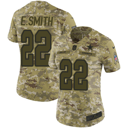 Nike Cowboys #22 Emmitt Smith Camo Women's Stitched NFL Limited 2018 Salute to Service Jersey