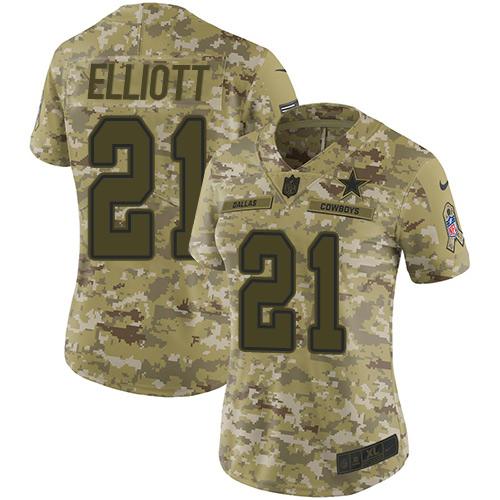 Nike Cowboys #21 Ezekiel Elliott Camo Women's Stitched NFL Limited 2018 Salute to Service Jersey