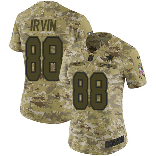 Nike Cowboys #88 Michael Irvin Camo Women's Stitched NFL Limited 2018 Salute to Service Jersey