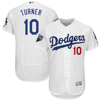 Men's Los Angeles Dodgers #10 Justin Turner Majestic White 2018 World Series Flex Base Player Jersey