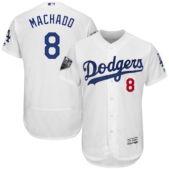 Men's Los Angeles Dodgers #8 Manny Machado Majestic White 2018 World Series Flex Base Player Jersey