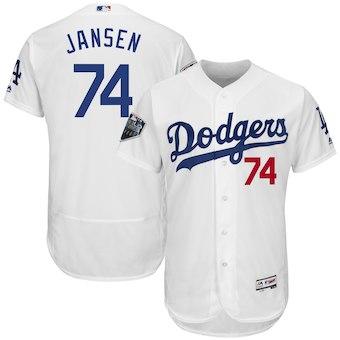 Men's Los Angeles Dodgers #74 Kenley Jansen Majestic White 2018 World Series Flex Base Player Jersey